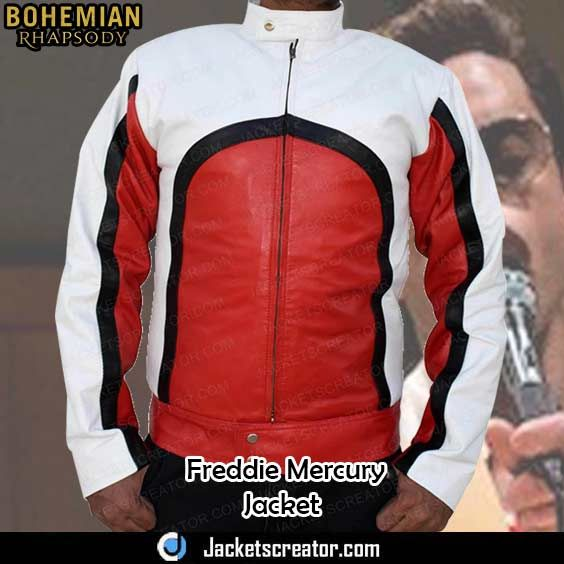 d80d5689c Bohemian Rhapsody Freddie Mercury Red and White Leather Jacket in ...