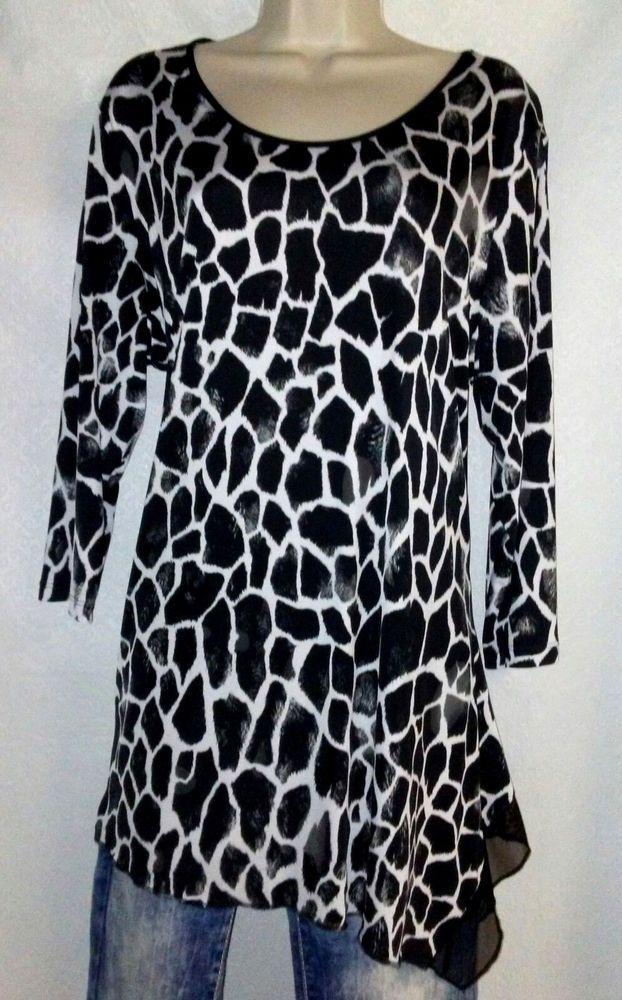 0fed8f1d60b PETER NYGARD Womens Top Blouse Shirt Black White Animal Print XL ...