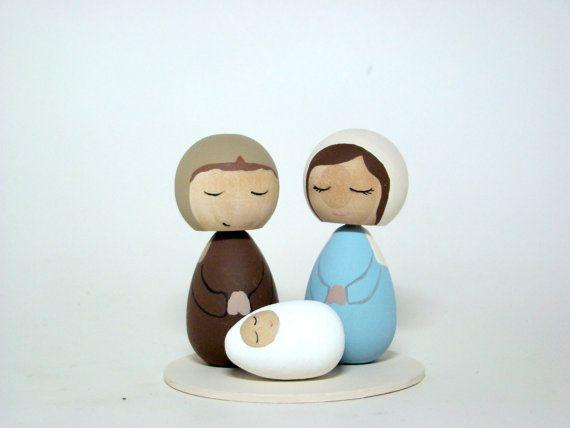 Kokeshi Nativity set (pegged)