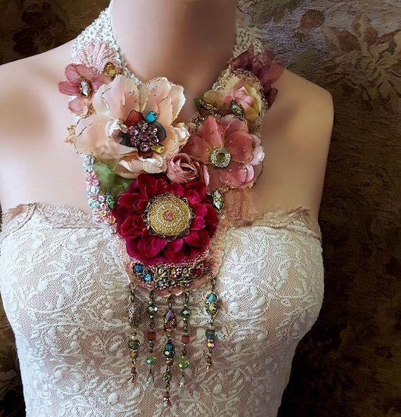 Ophelia's Flowers fabric flower necklace Boho statement