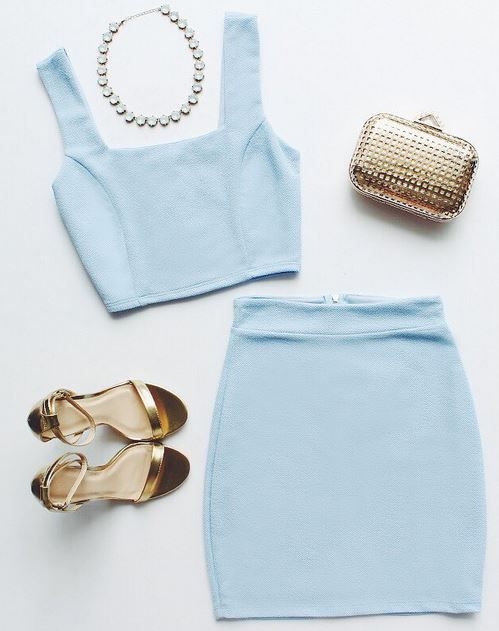 Baby blue two-piece