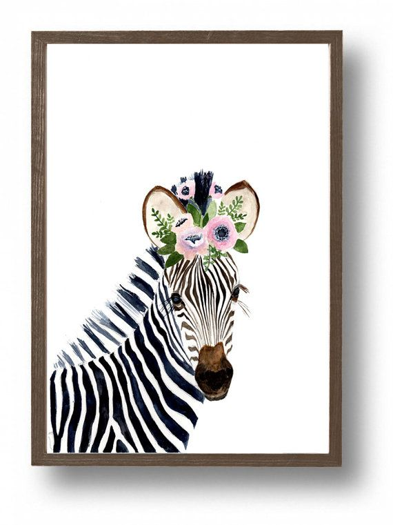 Cebra acuarela, pinturas de animales, jirafa, cebra, safari nursey, cuadros para niños, impresión del arte de los niños, arte infantil, arte de cebra