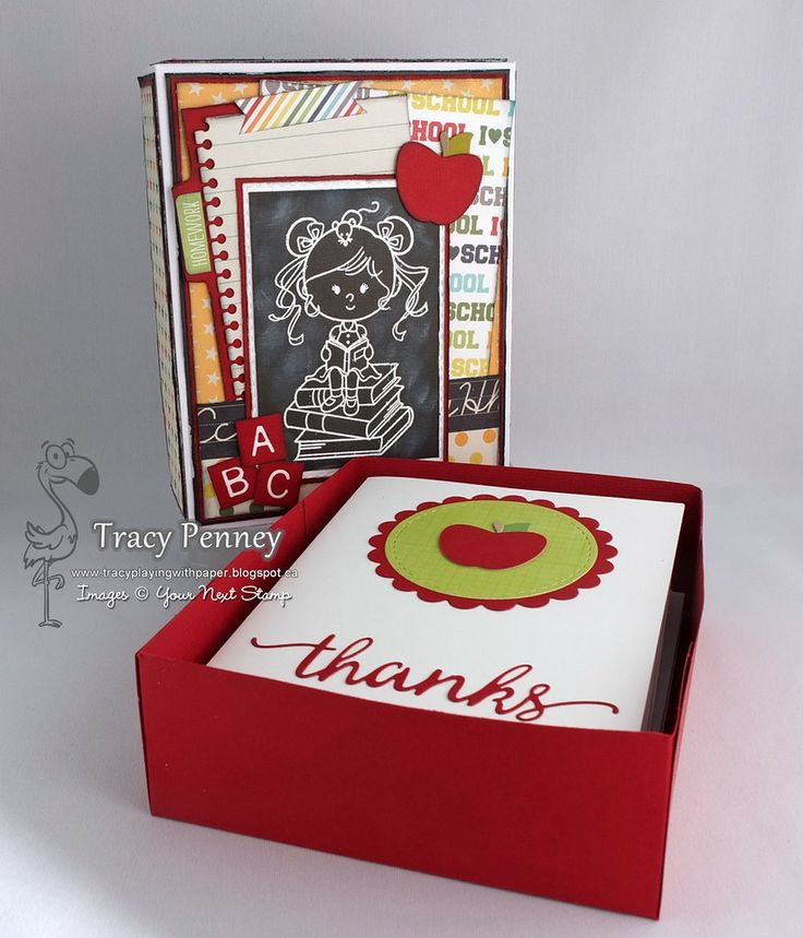 Stamps: A'dork'able (Your Next Stamp) Dies: Apple, Letter Board, Notebook Edge, File Tab, Fancy Thanks, Circle and Stitching Mark Circle (Your Next Stamp), Paper: Simple Stories Smarty Pants Other: Copic Markers, Versamark Ink, Recollections White embossing powder, Black Soot Distress Ink