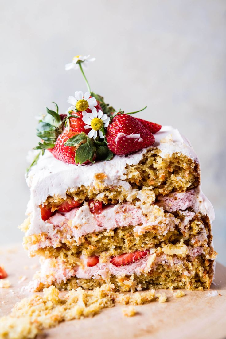 Strawberry Coconut Carrot Cake with Mascarpone Buttercream: While the cake looks all fancy, it's actually pretty easy to make. Simply bake the cake layers, make the buttercream, frost the cake and DONE. Nothing complicated about it, which is great for any kind of holiday dessert. | halfbakedharvest.com  #Cake #Strawberry #Carrot #Coconut #Mascarpone