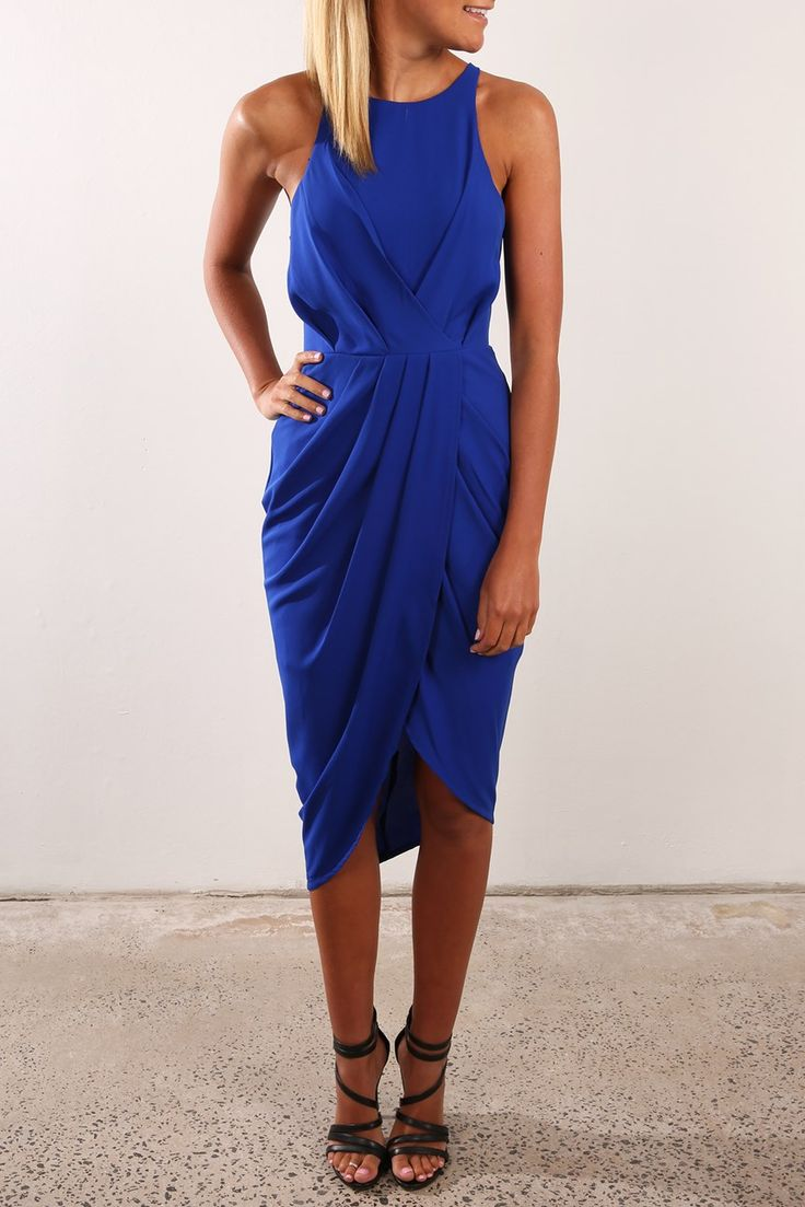 The color, the high neck/bib neck style ,and the length....love! Not sure the wrap/draping would be flattering on me, though.