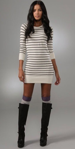 Sweater dress, thight high socks, and tall boots! Cute!!!