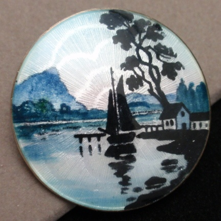 Lars Harsheim Scenic Picture Pin Vintage Sterling Silver and Enamel