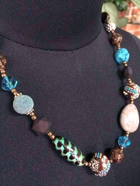 Handmade Beaded Necklace 54 cm, Blues, Copper, Silver  $34.95  Buy it Now