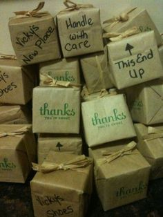 Housewarming party favors- They look like moving packages - great idea and thanks for helping us celebrate! ♡