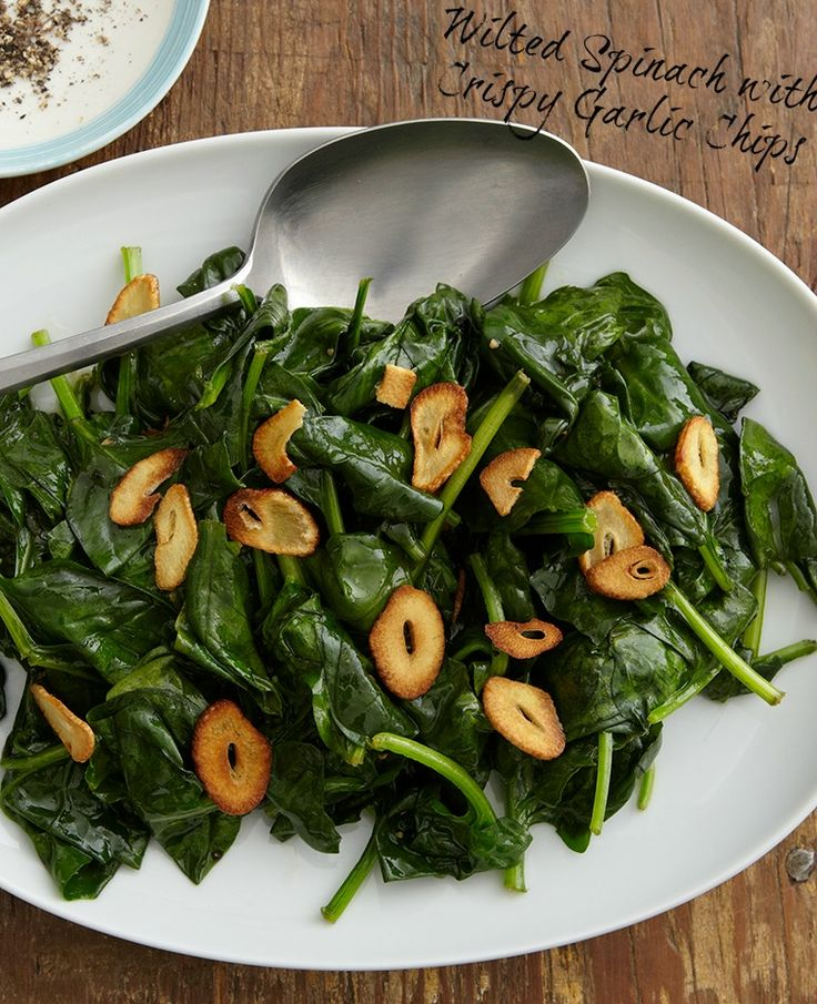 Wilted Spinach with Crispy Garlic