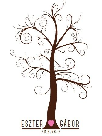 Personalized fingerprint tree wedding guestbook by Made In Heaven.