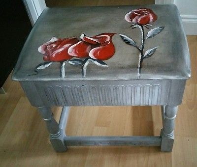 Vtg Heavy Solid Wood Coffee Table One Drawer Handpainted Roses Annie Sloan Paint