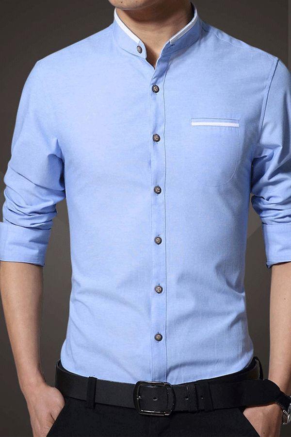 Ericdress Plain Stand Collar Autumn Men S Shirt Men Shirt Style