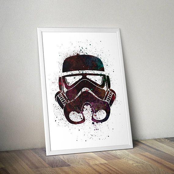 Star Wars Inspired Poster Print - Stormtrooper Helmet | Watercolour | A2 Size-Resizable | Printable | Digital Download | Minimalist