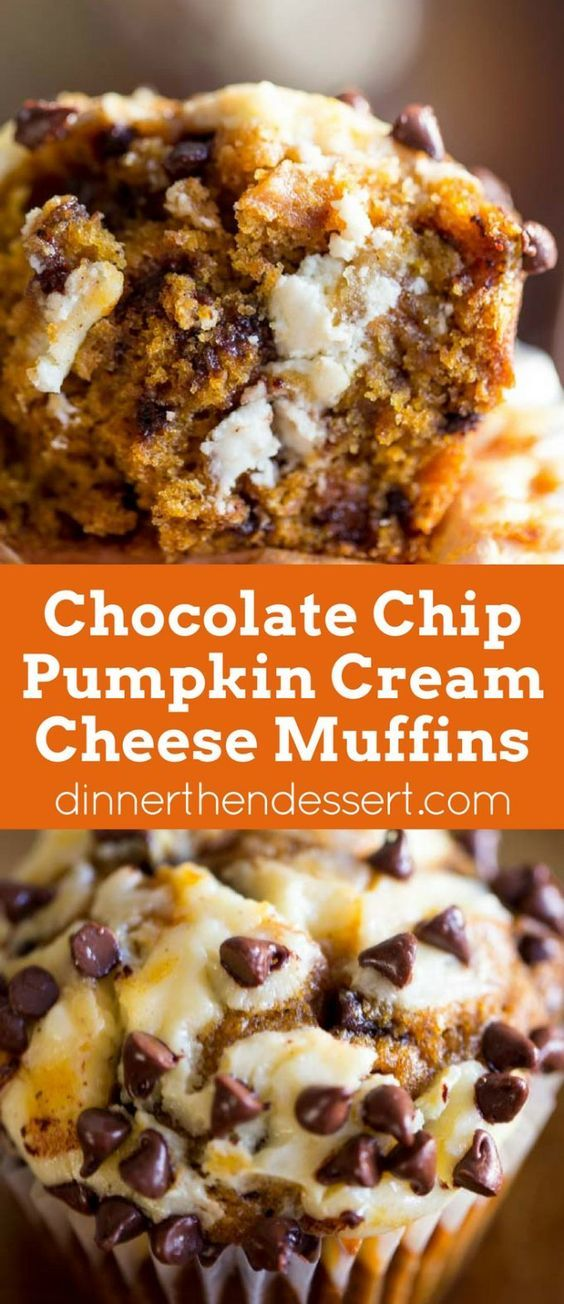Chocolate Chip Pumpkin Cream Cheese Muffins | Recipe