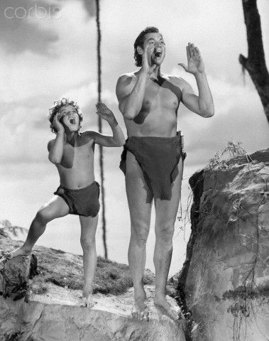 Johnny Sheffield and Johnny Weismuller as Tarzan