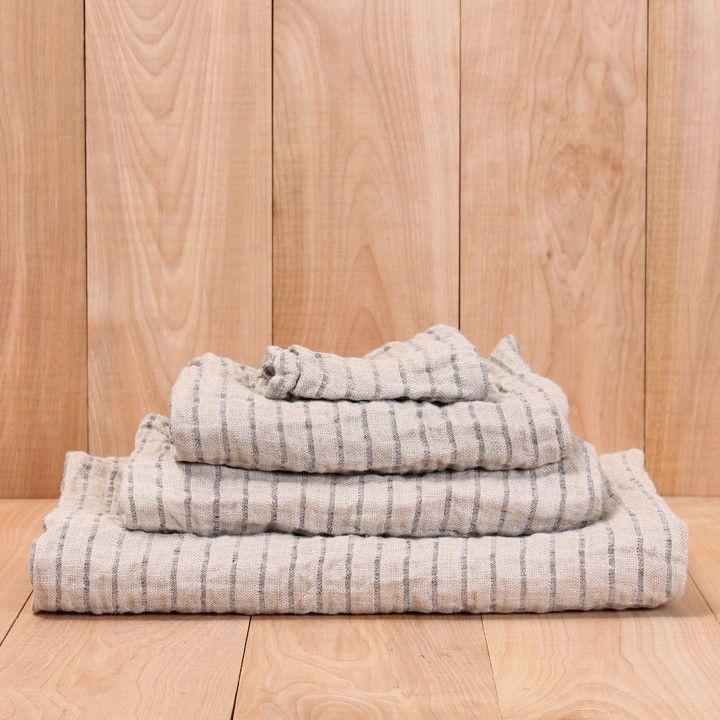 Linen Black Stripe Towel