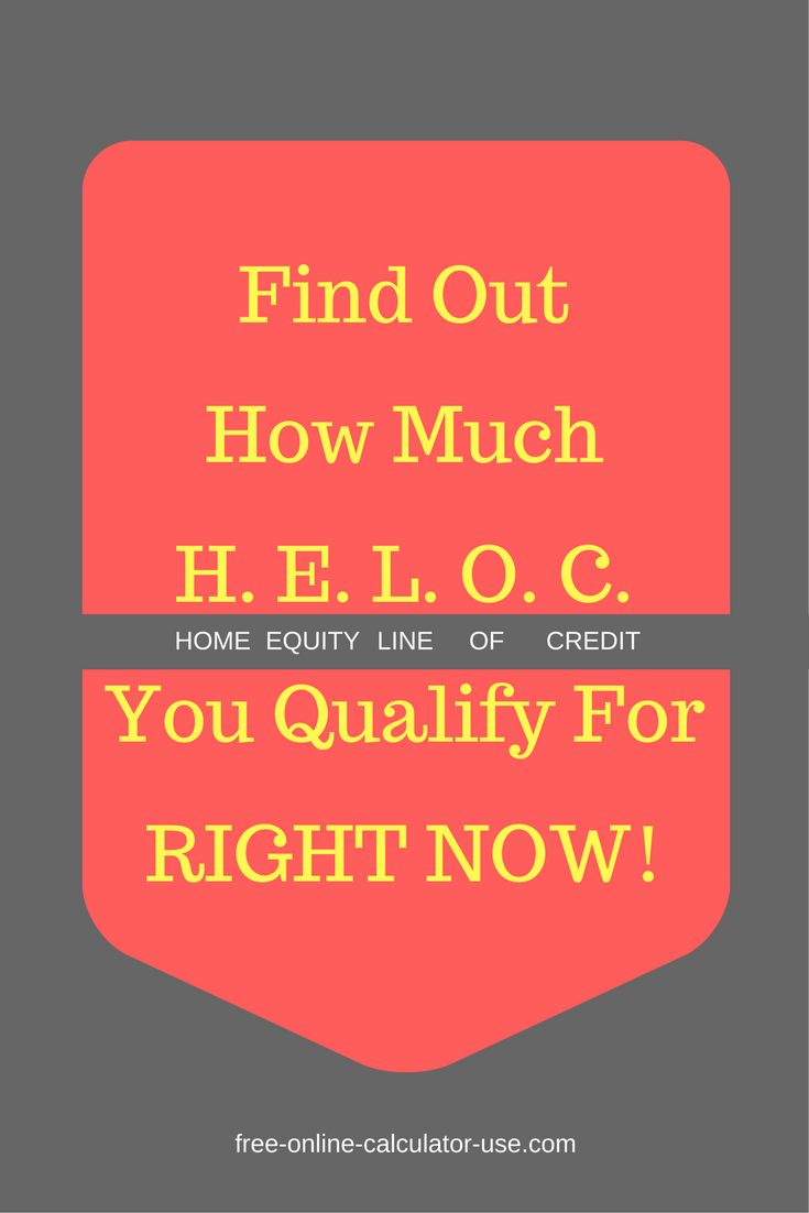 This free online HELOC Calculator will calculate the amount of the Home Equity Line of Credit you may qualify for based on the appraised value of your property, your current outstanding mortgages against the property, and the loan to value the lender is willing to offer you.
