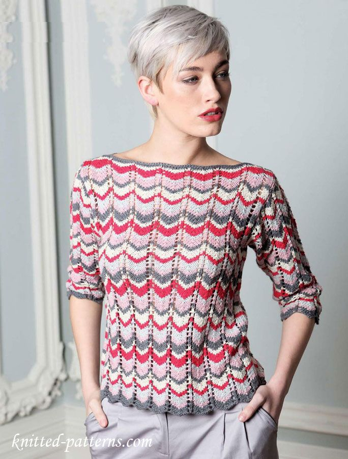 New Heatwave by Sublime - FREE knitting pattern chevron striped boatneck sweater w/ 3/4 sleeves (hva)