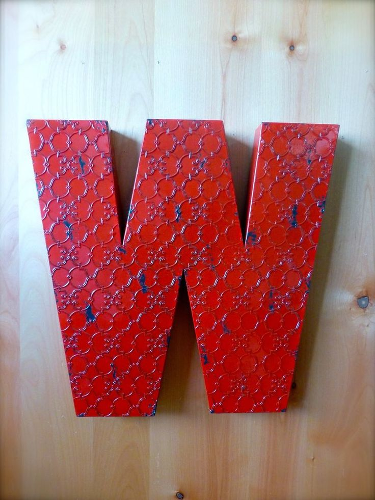 "INDUSTRIAL RED METAL WALL LETTER ""W"" 20"" TALL rustic vintage decor novelty sign #RusticPrimitive"