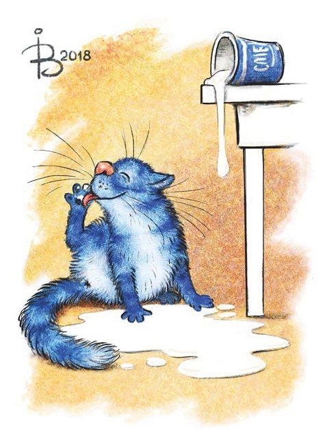 Ирина Зенюк / Синие коты / Открытки / Посткроссинг Irina Zeniuk / Blue cats / Postcrossing / Postcards