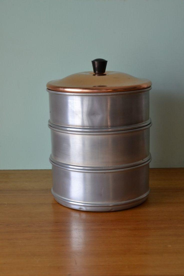 Vintage metal cake tin tri level anodised lid - Funky Flamingo