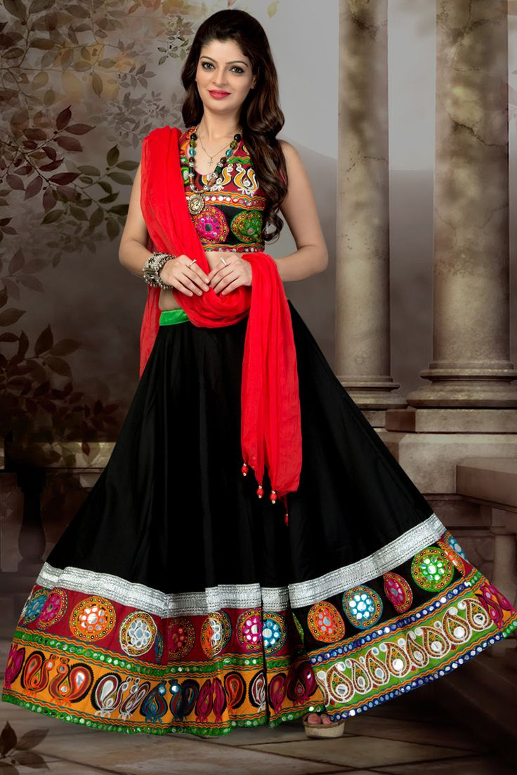 Black Color Chiffon Cotton Chaniya Choli #Lehenga #Navratri