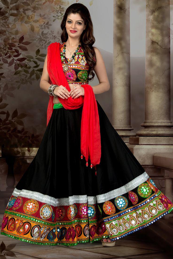 Black Color Chiffon Cotton Chaniya Choli #Lehenga #Navratri