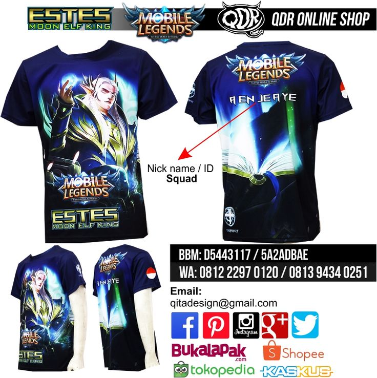 Estes Mobile Legends (Jersey MObile Legends) Bahan: Dry-fit printing: sublimasi untuk pemesanan: BBM D5443117 / 5A2ADBAE (Qdr online shop) WA/LINE 081222970120 / 08129434025
