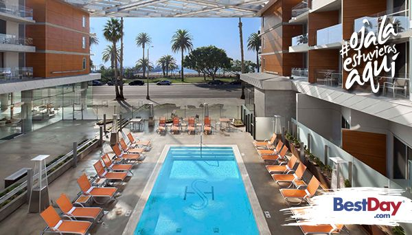 Este es un hotel económico, ubicado en el corazón del distrito de compras, gastronomía y entretenimiento de Santa Mónica. Se encuentra frente a la playa, el muelle y a sólo una calle del centro comercial y del Third Street Promenade. #OjalaEstuvierasAqui