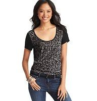 Mini Animal Print Tee - We adore the untamed cute of this easygoing tee – it's a surprisingly wearable way to do animal print attitude. Scoop neck. Short contrast sleeves. Banded neckline. Print front. Solid back.