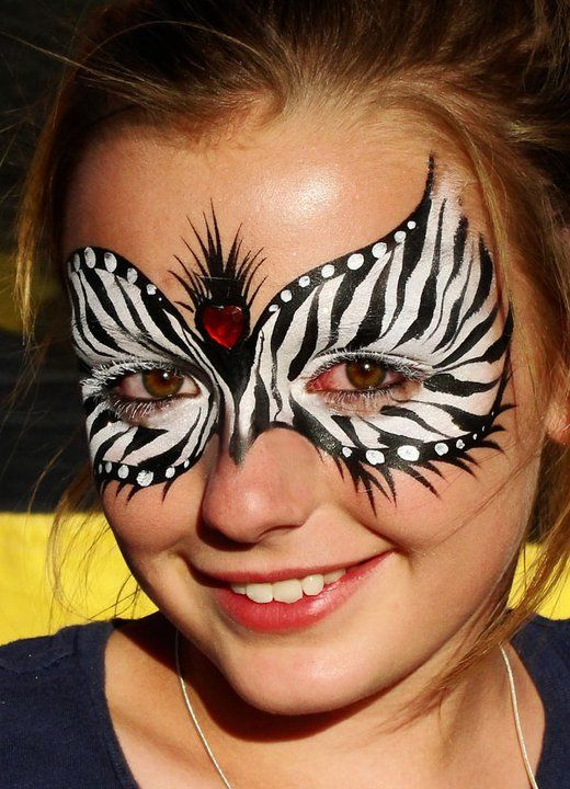 Christina Davison Zebra Mask with Heart Gem Face Painting