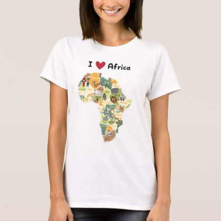 African Safari Map - I Heart Africa - Shirt Cute illustration of African animals on African map.