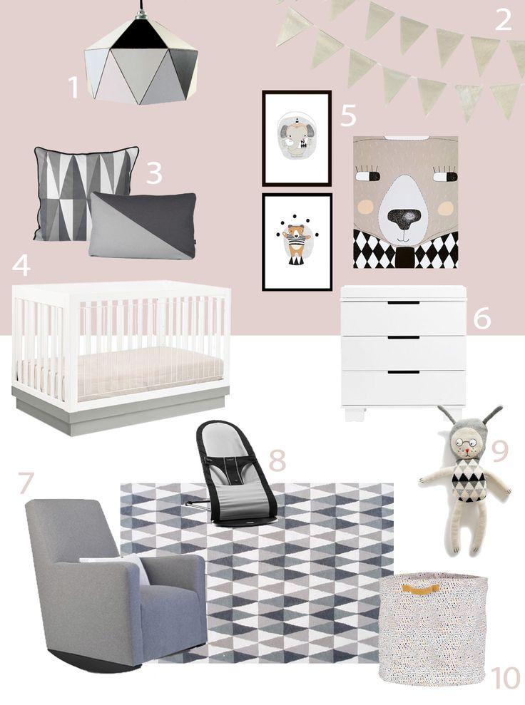 My modern nursery 65 pink and gray harlequin and for Modern grey nursery