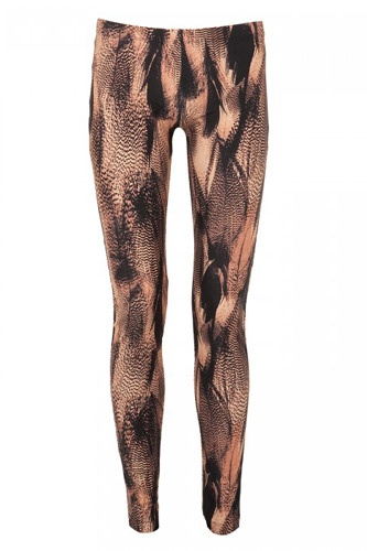 McQ Feather Print Leggings, $255, available at Harvey Nichols