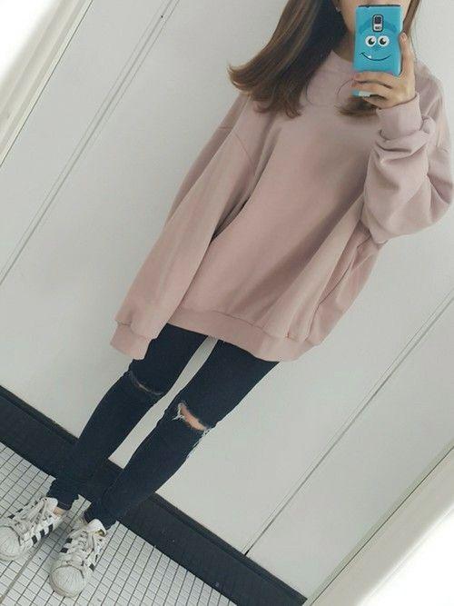 ***  ビックシルエットが可愛いトレーナー♡  流行りのピンクもくすみカラーが可愛いんです♡