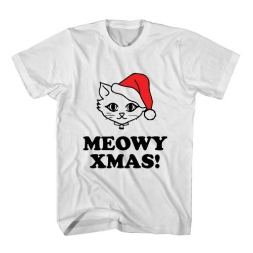 T-Shirt Meowy Xmas unisex mens womens S, M, L, XL, 2XL color grey and white. Tumblr t-shirt free shipping USA and worldwide.