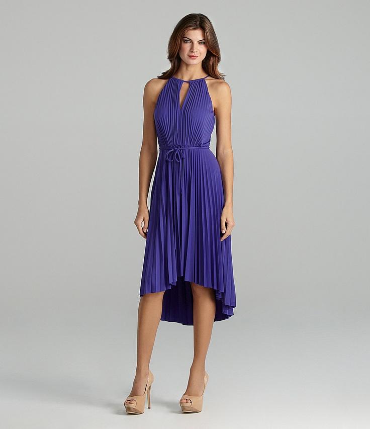 Maggy London Pleated Halter Hi-Low Dress | Dillards.com