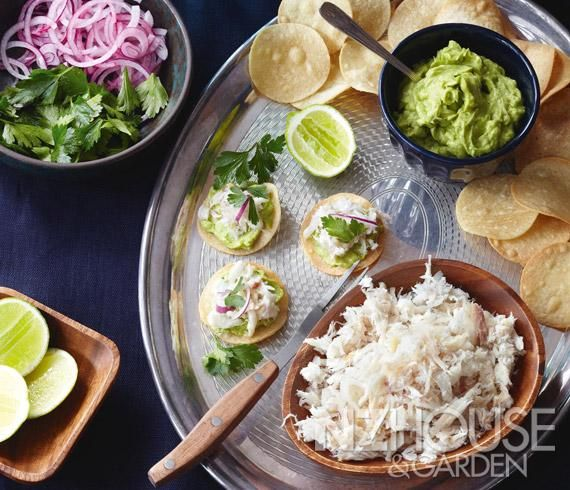 Pulled Smoked Snapper with Avocado Puree and Crisp Tortillas