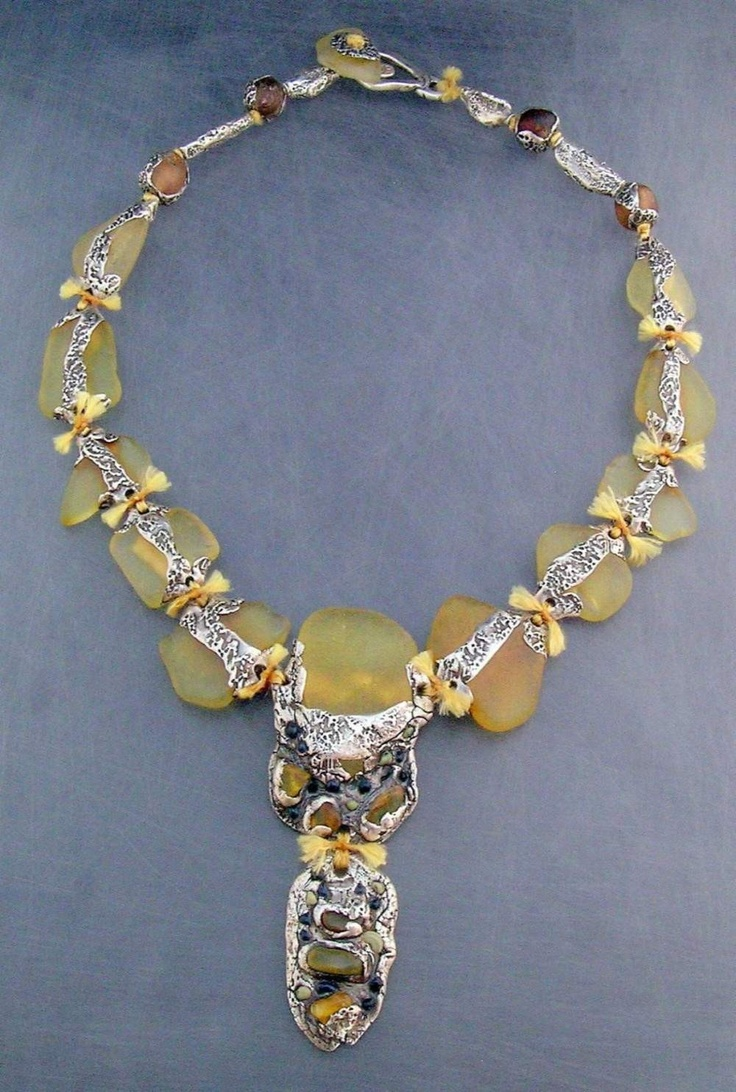 ~ Kathy Van Kleeck  'Glass Vertebrae'  Beach glass pebbles, fine silver PMC, glass beads & amber coloured linen