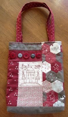 English Paper Piecing, Quilting, and Embroidery used in this darling tote bag. Time to Stitch: Anni Downs
