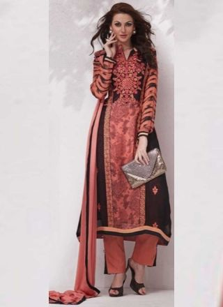 Buy Peach Fancy Neck Embroidery in Georgette Printed  Pakistani Suit http://www.angelnx.com/Salwar-Kameez/Pakistani-Suits