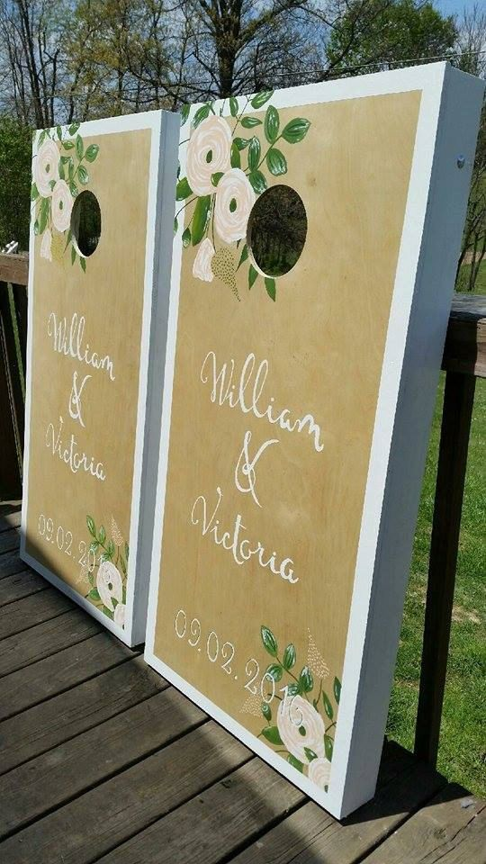 Personalized Couple Wedding Cornhole Board Set by CountryCornholes