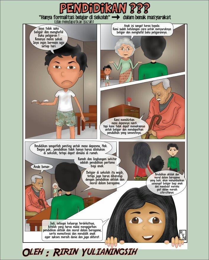 """Komik strip dengan tema """"Pendidikan""""  Ide, konsep gambar, sketsa, pewarnaan, script, finishing oleh Ririn Yulianingsih. Sekalian curhat, tapi gagal"""