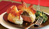 Individual Beef Wellingtons w/ mushroom, spinach & blue cheese filling