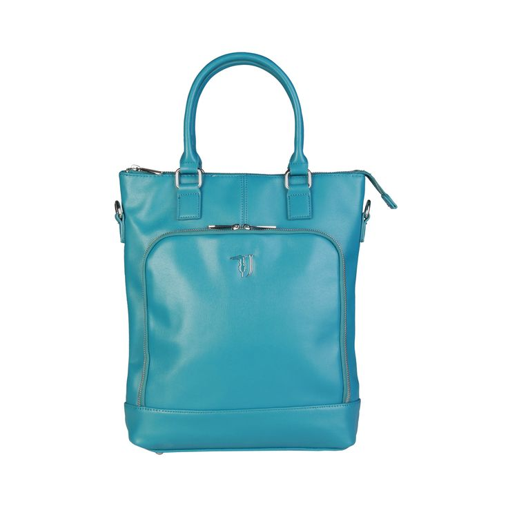 Trussardi – 75B603T – Shopper has saffiano eco-leather, large front pocket double zip fastening, metal branded zip, double handle, removable and adjustable shoulder strap. It has also enamelled metal logo according to the color of the bag, multi-pocket internal organization with padded laptop compartment, fully lined with washable custom fabric. It is of size: 34,5*40*9 cm.   https://fashiondose24.com