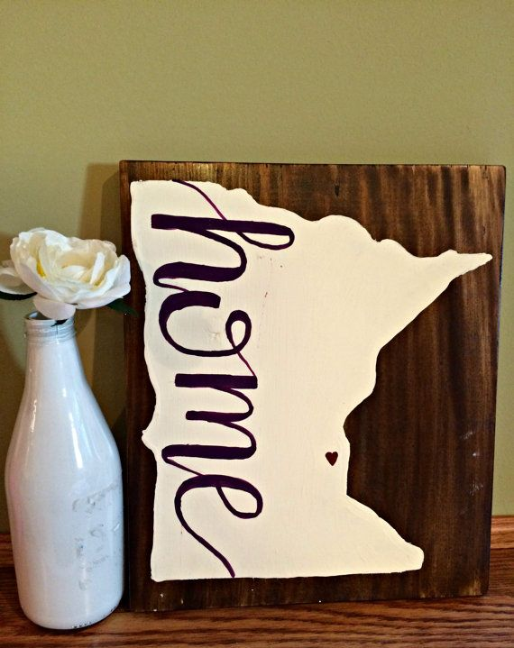 """Minnesota """"home"""" // Hand Painted State Silhouette Wood Sign"""