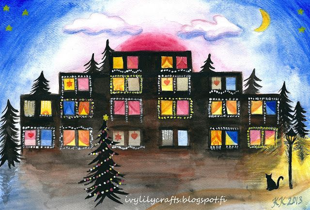 Christmas watercolor painting of an apartment building + free download: 12 Tools I Use to Create My Watercolor Paintings.