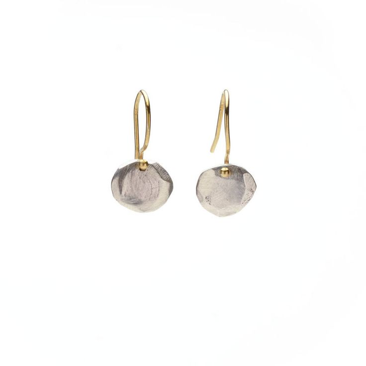 Sterling silver distressed ovals with 18K gold-filled earwires