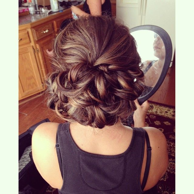 Bridal Hair | Wedding Hair | Low Curled Bun | Full Bun | Brunette Hair | Curled Updo | Wedding Hairstyle | Prom Hair